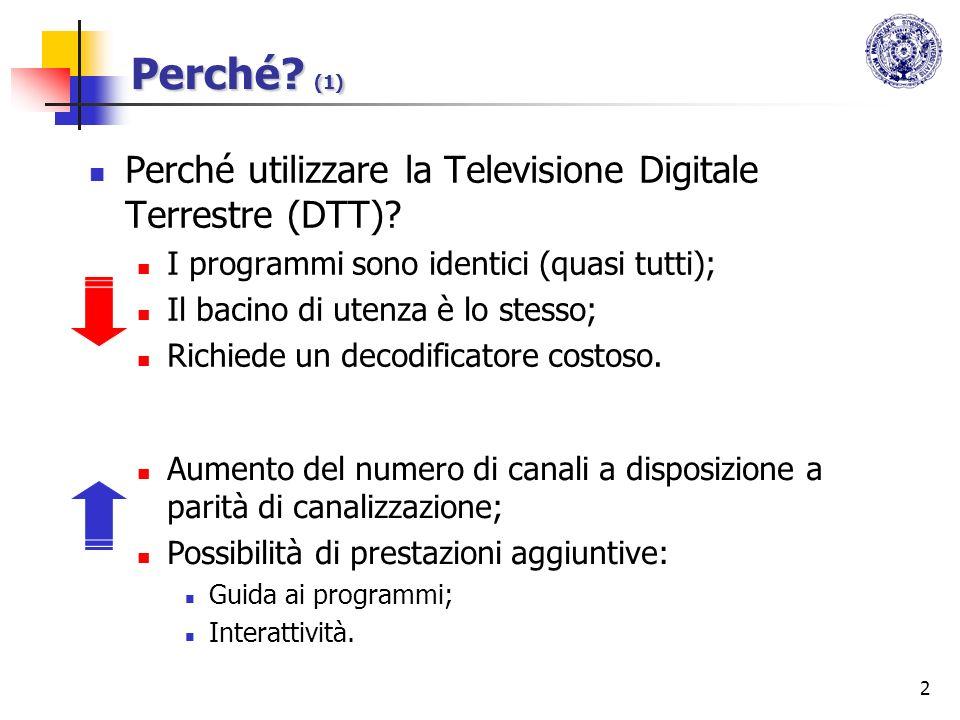 2 Perché? (1) Perché utilizzare la Televisione Digitale Terrestre (DTT)? I programmi sono identici (quasi tutti); Il bacino di utenza è lo stesso; Ric