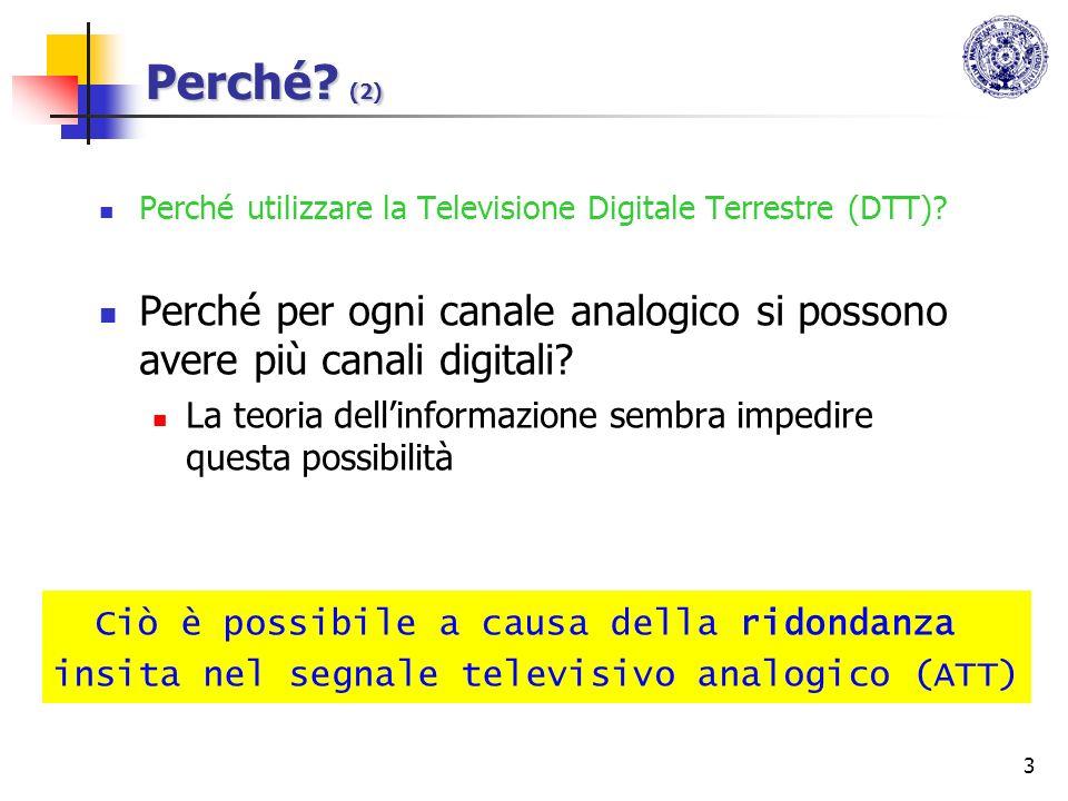 3 Perché? (2) Perché utilizzare la Televisione Digitale Terrestre (DTT)? Perché per ogni canale analogico si possono avere più canali digitali? La teo