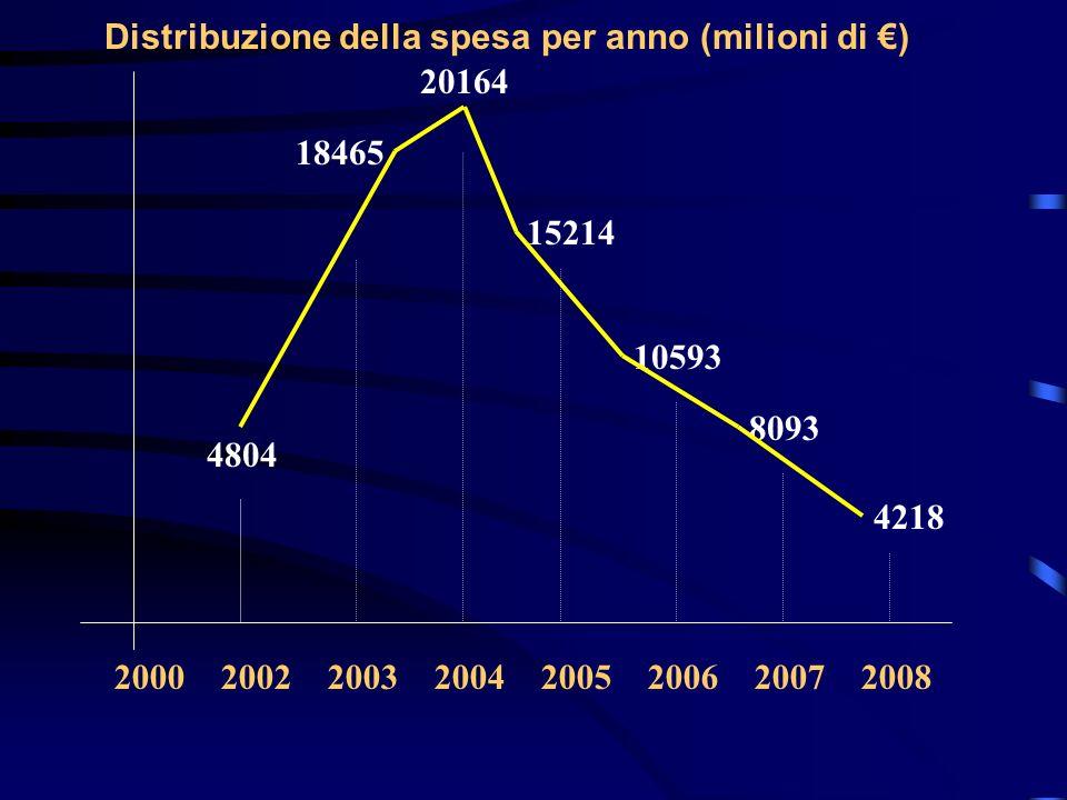 Distribuzione della spesa per anno (milioni di ) 10593 15214 20164 18465 4804 8093 4218 2000 2002 2003 2004 2005 2006 2007 2008
