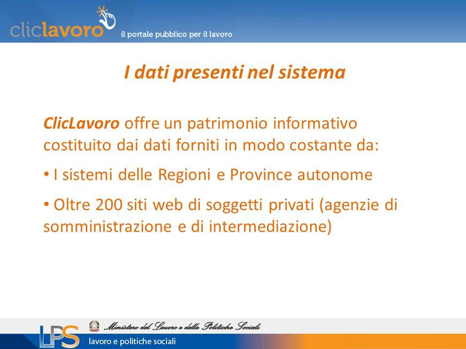I dati presenti nel sistema ClicLavoro offre un patrimonio informativo costituito dai dati forniti in modo costante da: I sistemi delle Regioni e Province autonome Oltre 200 siti web di soggetti privati (agenzie di somministrazione e di intermediazione)