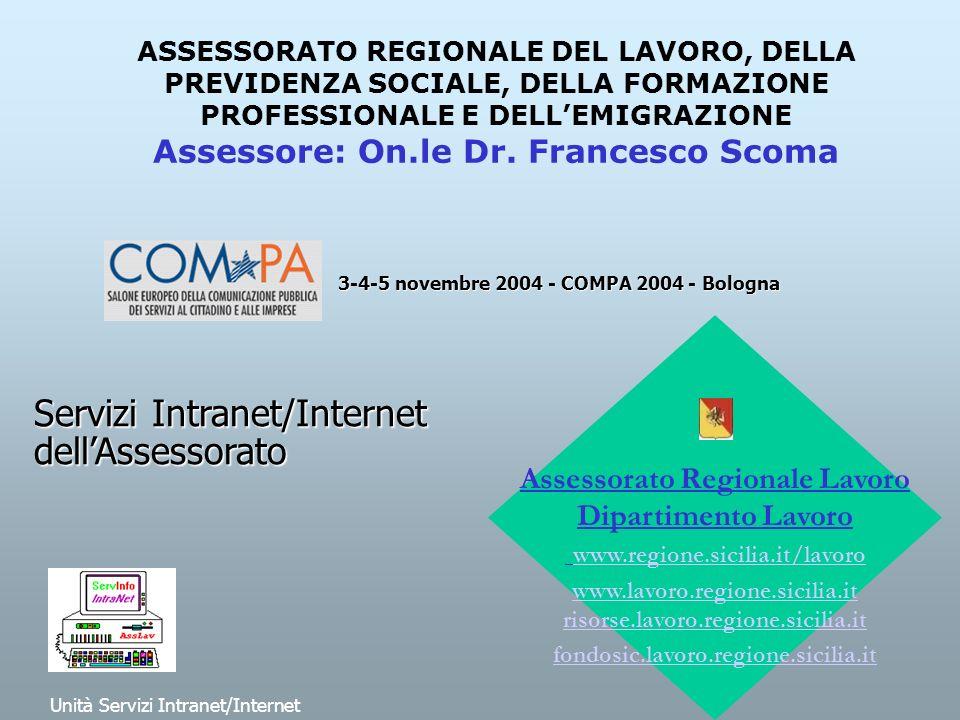 ASSESSORATO REGIONALE DEL LAVORO, DELLA PREVIDENZA SOCIALE, DELLA FORMAZIONE PROFESSIONALE E DELLEMIGRAZIONE Assessore: On.le Dr.