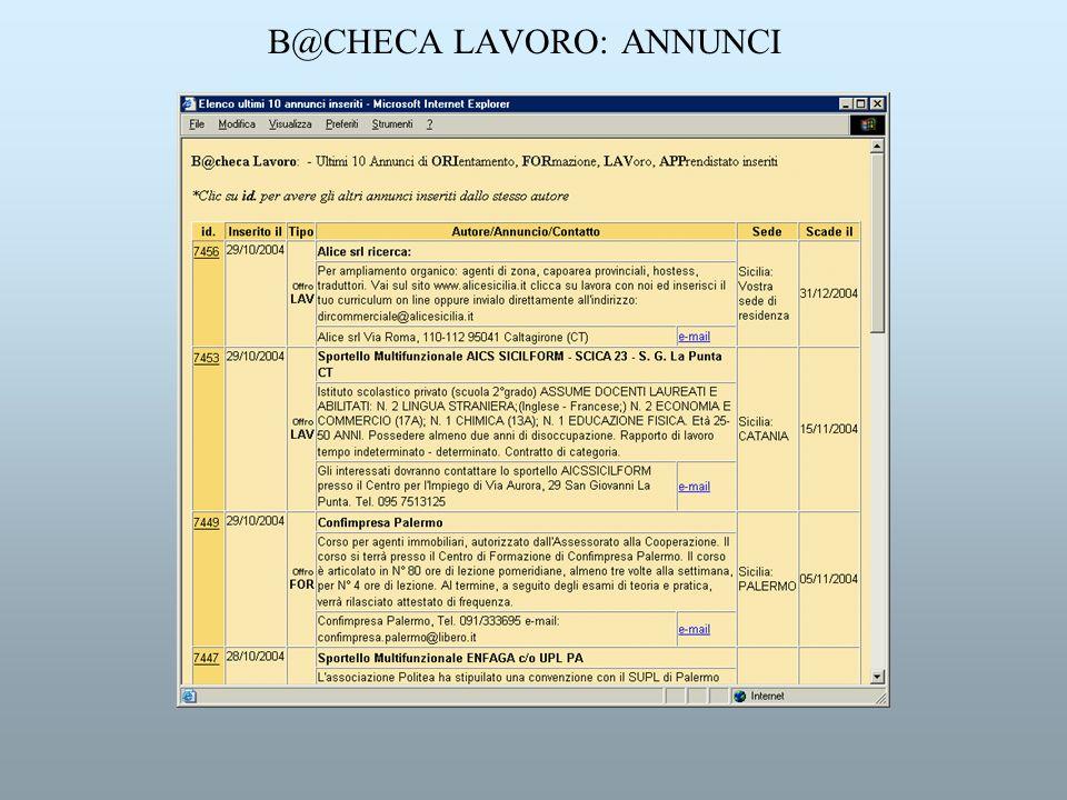 B@CHECA LAVORO: ANNUNCI