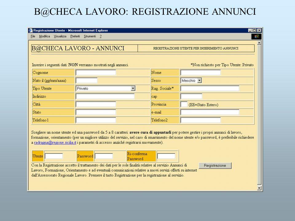 B@CHECA LAVORO: REGISTRAZIONE ANNUNCI