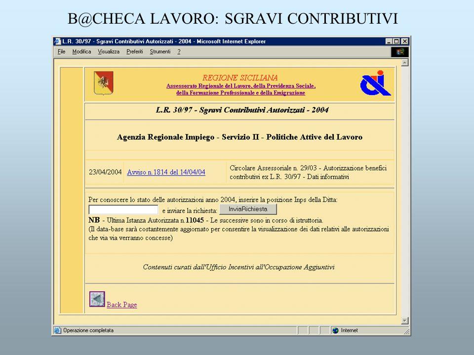 B@CHECA LAVORO: SGRAVI CONTRIBUTIVI