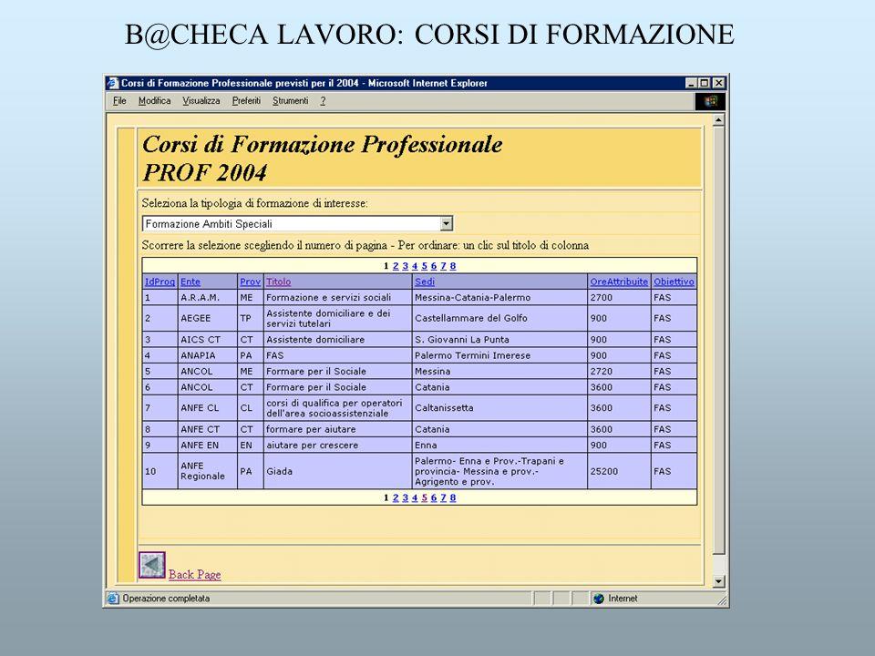 B@CHECA LAVORO: CORSI DI FORMAZIONE
