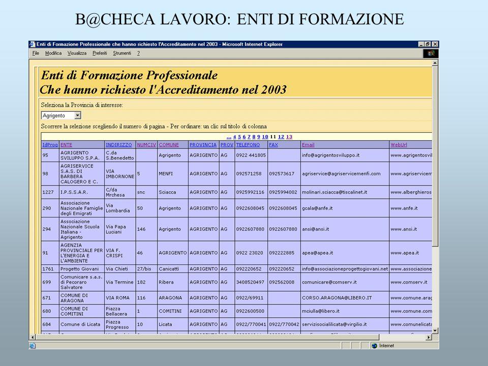 B@CHECA LAVORO: ENTI DI FORMAZIONE