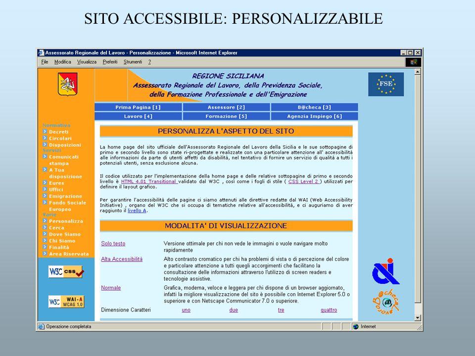 SITO ACCESSIBILE: PERSONALIZZABILE