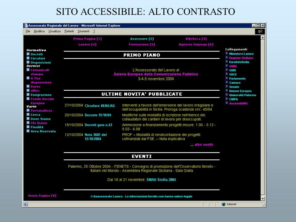 SITO ACCESSIBILE: ALTO CONTRASTO