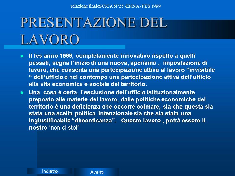Avanti Indietro relazione finaleSCICA N°25 -ENNA - FES 1999 Obiettivi del progetto LE POLITICHE ECONOMICHE DEL TERRITORIO OCCASIONE DI INSERIMENTO NEL