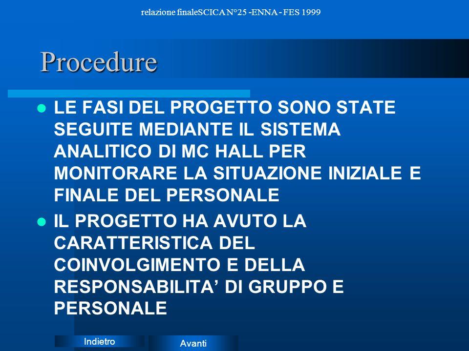 Avanti Indietro relazione finaleSCICA N°25 -ENNA - FES 1999STRUMENTI –Gli strumenti riguardano la fase conclusiva del progetto che consiste nella stes