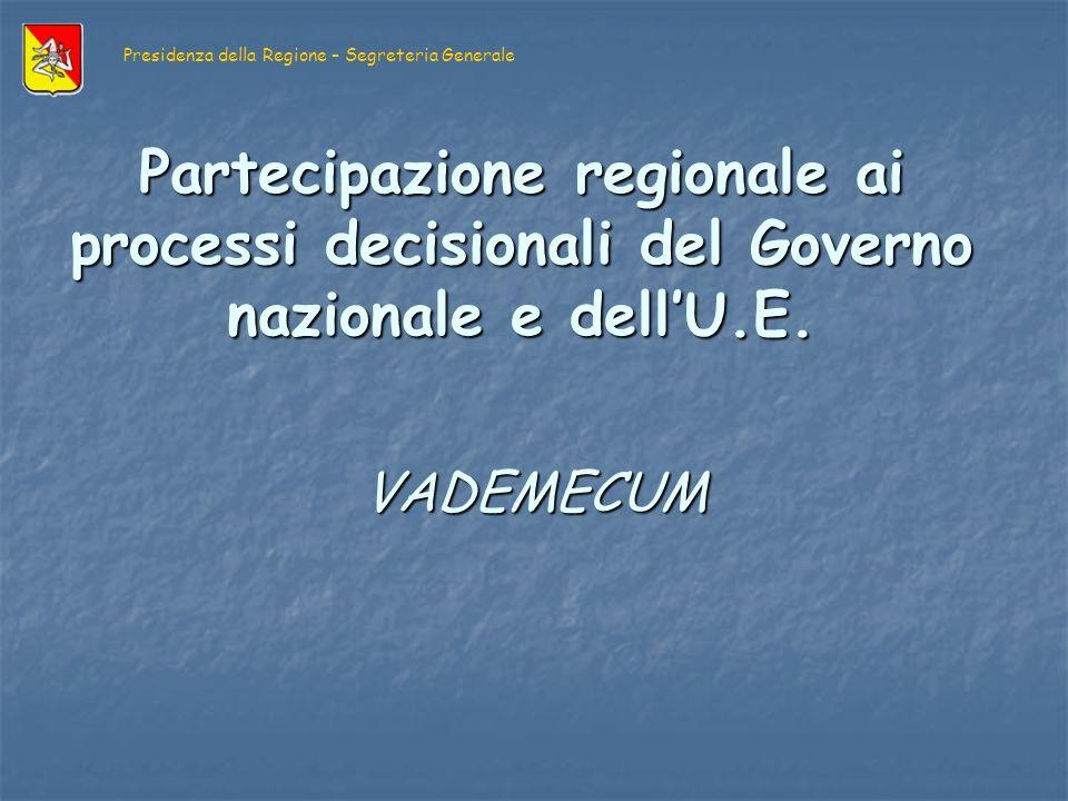 LA NECESSITA DEL VADEMECUM illustra le dinamiche di partecipazione regionale alle scelte politiche sia in sede nazionale che comunitaria, così come delineate nella normativa di riferimento.