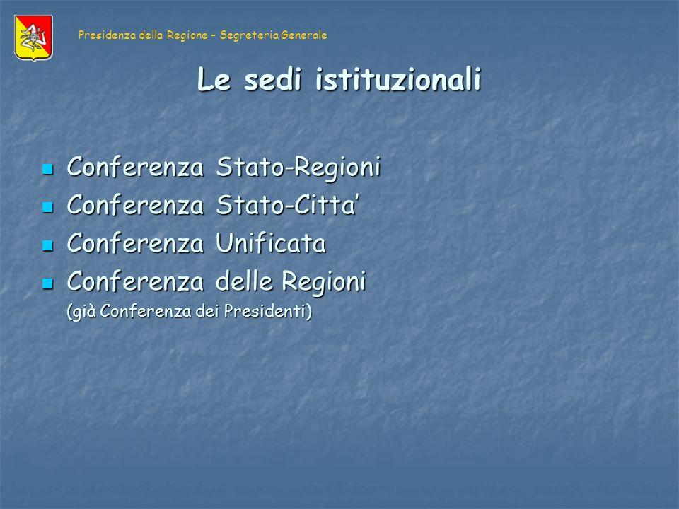 PRESIDENZA CONSIGLIO DEI MINISTRI PRESIDENZA CONSIGLIO DEI MINISTRI Dipartimento per le Politiche comunitarie CONFERENZA STATO- REGIONI CONFERENZA STATO- REGIONI (SESSIONE COMUNITARIA) (SESSIONE COMUNITARIA) Compiti di informazione Compiti di informazione Assicura il raccordo delle linee della politica nazionale relativa allelaborazione degli atti comunitari con le esigenze delle Regioni nelle materie di loro competenza, e acquisisce il parere di queste ultime sullo schema di disegno di legge comunitaria.