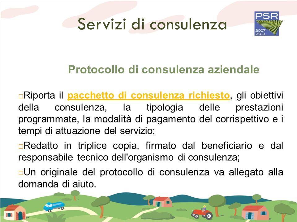 Servizi di consulenza Protocollo di consulenza aziendale Riporta il pacchetto di consulenza richiesto, gli obiettivi della consulenza, la tipologia de