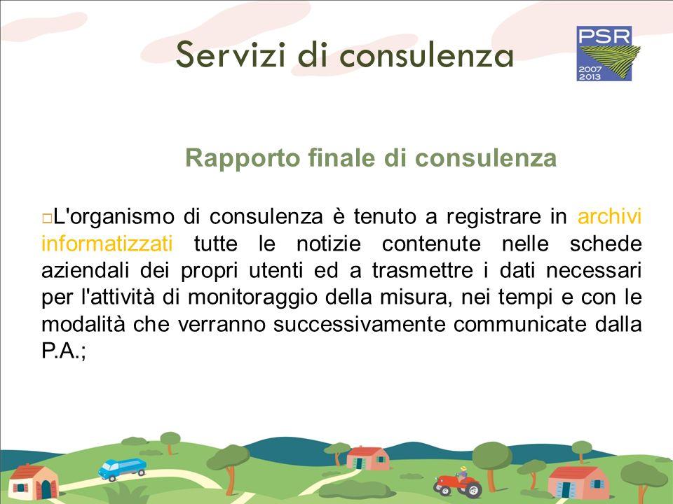 Servizi di consulenza Rapporto finale di consulenza L'organismo di consulenza è tenuto a registrare in archivi informatizzati tutte le notizie contenu