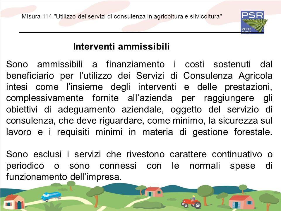 Interventi ammissibili Sono ammissibili a finanziamento i costi sostenuti dal beneficiario per lutilizzo dei Servizi di Consulenza Agricola intesi com