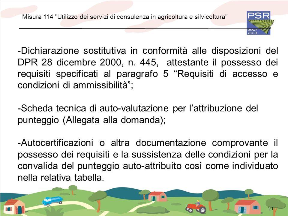 21 -Dichiarazione sostitutiva in conformità alle disposizioni del DPR 28 dicembre 2000, n. 445, attestante il possesso dei requisiti specificati al pa