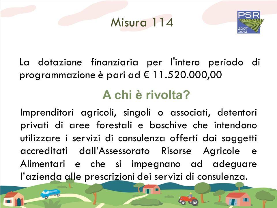 Misura 114 La dotazione finanziaria per l'intero periodo di programmazione è pari ad 11.520.000,00 A chi è rivolta? Imprenditori agricoli, singoli o a