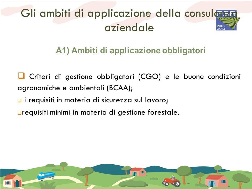 Gli ambiti di applicazione della consulenza aziendale A1) Ambiti di applicazione obbligatori Criteri di gestione obbligatori (CGO) e le buone condizio