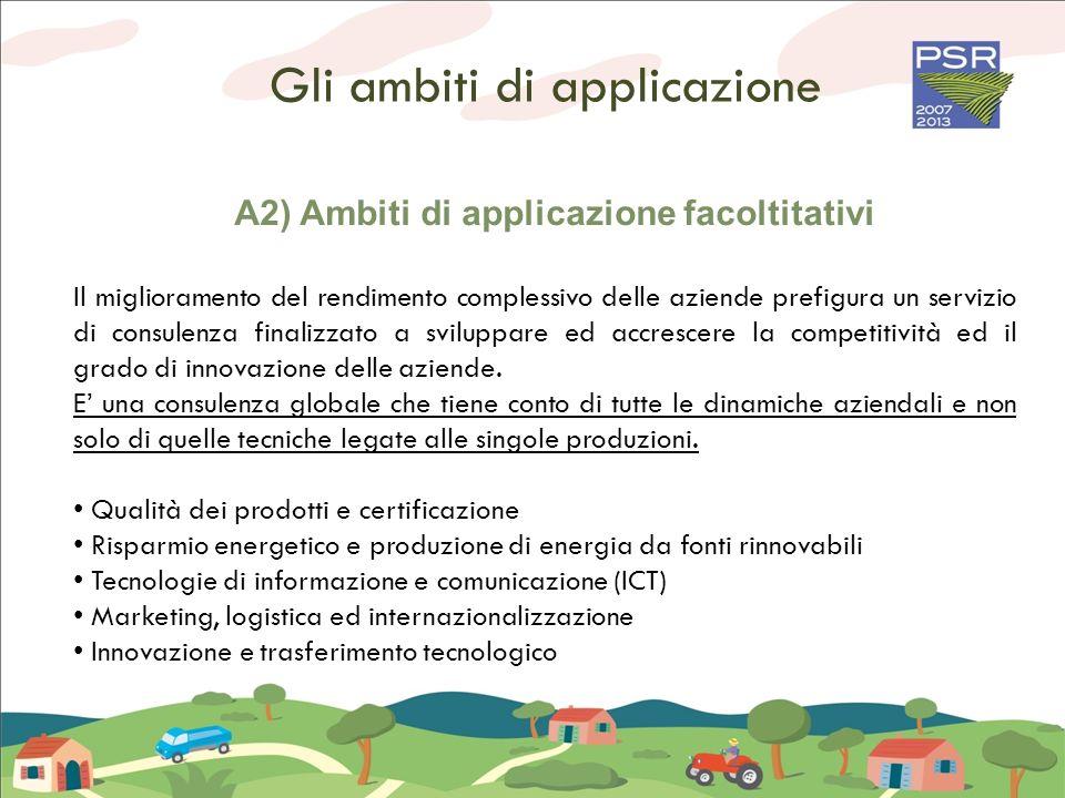 Gli ambiti di applicazione A2) Ambiti di applicazione facoltitativi Il miglioramento del rendimento complessivo delle aziende prefigura un servizio di