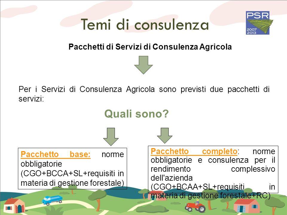 Temi di consulenza Pacchetto base: norme obbligatorie (CGO+BCCA+SL+requisiti in materia di gestione forestale) Pacchetto completo: norme obbligatorie