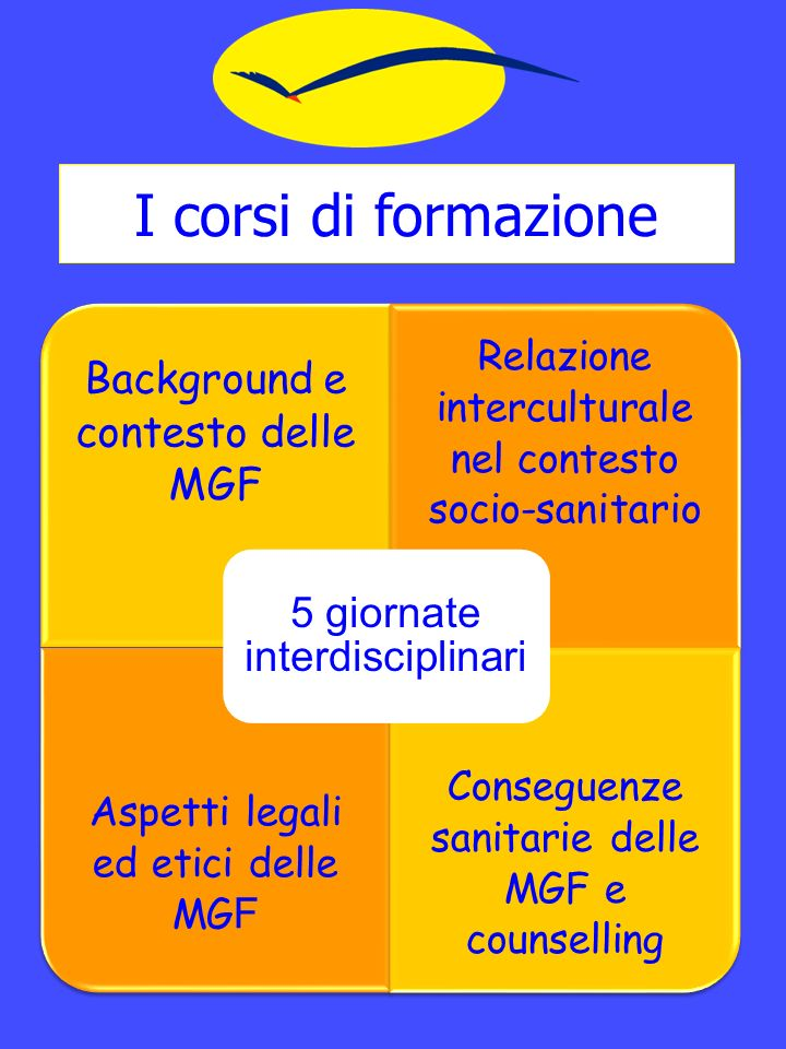 I corsi di formazione Background e contesto delle MGF Relazione interculturale nel contesto socio-sanitario Aspetti legali ed etici delle MG F Conseguenze sanitarie delle MGF e counselling 5 giornate interdisciplinari