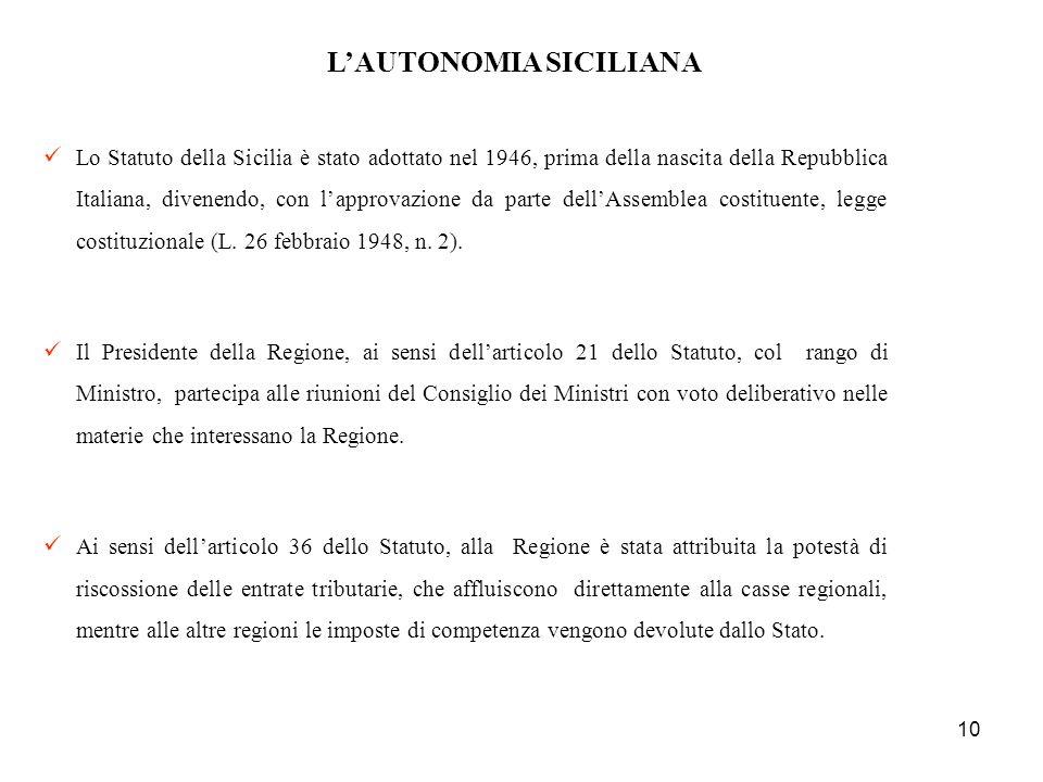 10 LAUTONOMIA SICILIANA Lo Statuto della Sicilia è stato adottato nel 1946, prima della nascita della Repubblica Italiana, divenendo, con lapprovazion