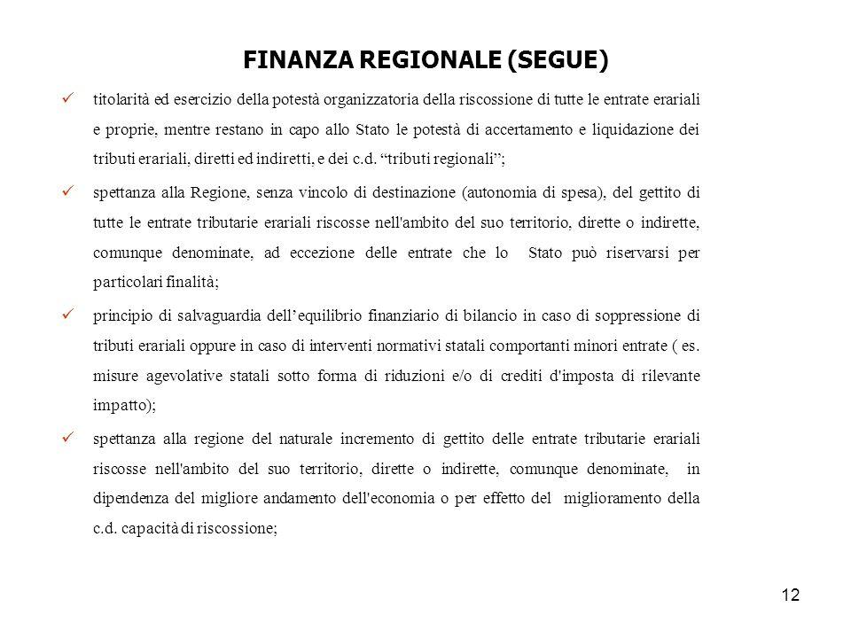 12 FINANZA REGIONALE (SEGUE) titolarità ed esercizio della potestà organizzatoria della riscossione di tutte le entrate erariali e proprie, mentre res