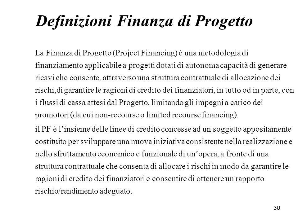 30 Definizioni Finanza di Progetto La Finanza di Progetto (Project Financing) è una metodologia di finanziamento applicabile a progetti dotati di auto