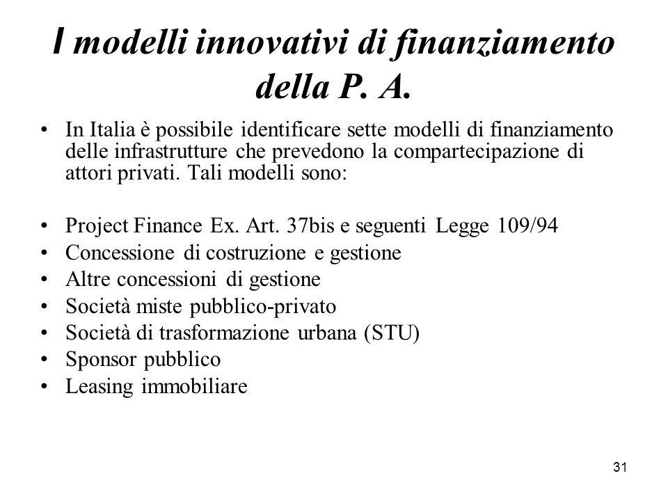 31 I modelli innovativi di finanziamento della P. A. In Italia è possibile identificare sette modelli di finanziamento delle infrastrutture che preved