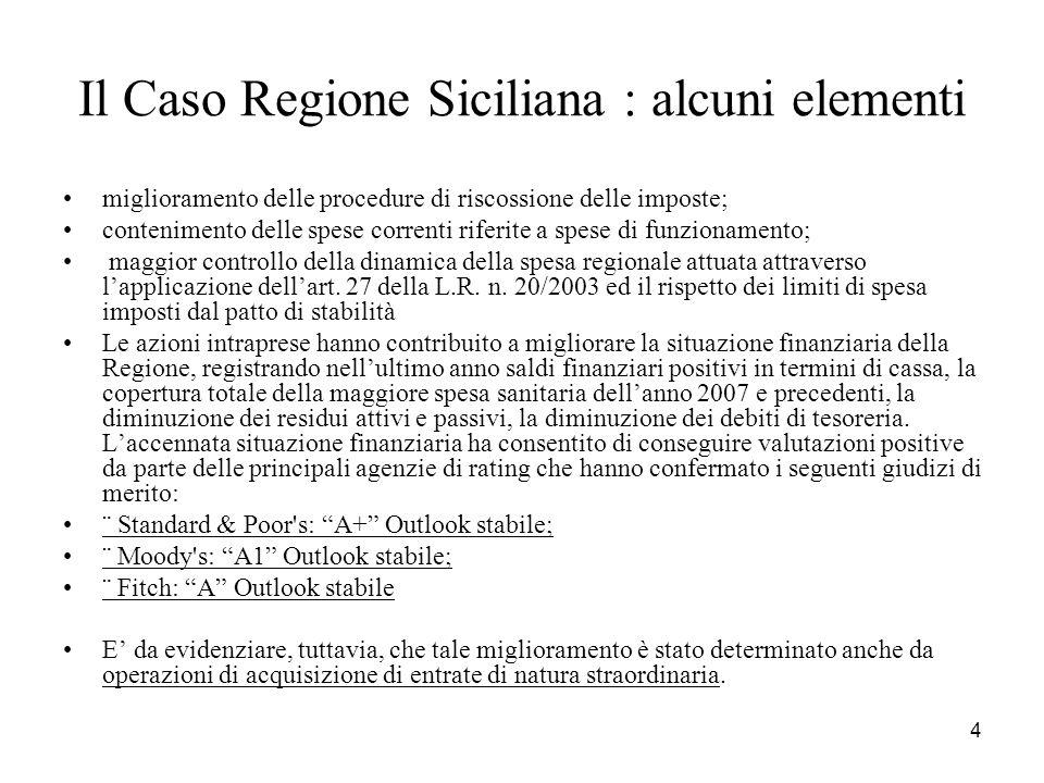 4 Il Caso Regione Siciliana : alcuni elementi miglioramento delle procedure di riscossione delle imposte; contenimento delle spese correnti riferite a