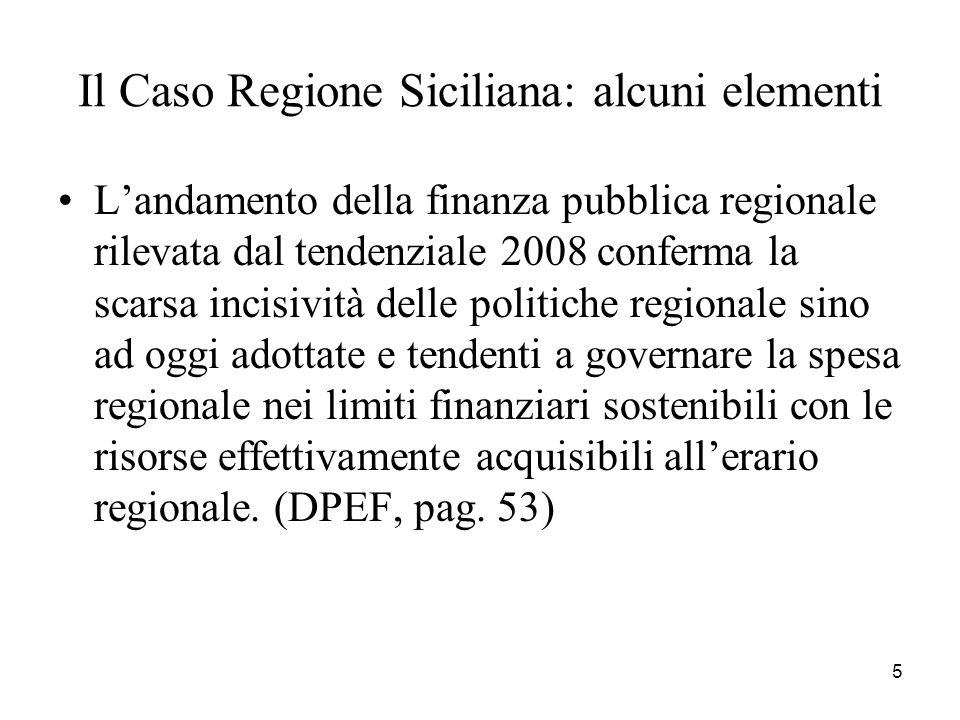 5 Il Caso Regione Siciliana: alcuni elementi Landamento della finanza pubblica regionale rilevata dal tendenziale 2008 conferma la scarsa incisività d