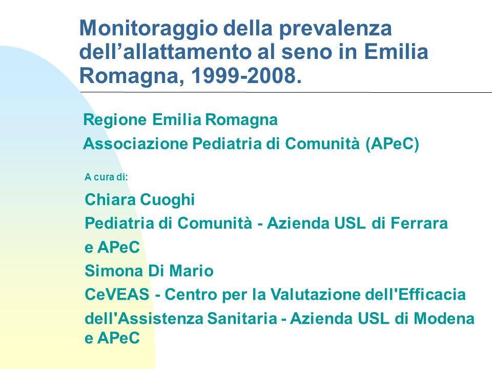 Monitoraggio della prevalenza dellallattamento al seno in Emilia Romagna, 1999-2008. Regione Emilia Romagna Associazione Pediatria di Comunità (APeC)
