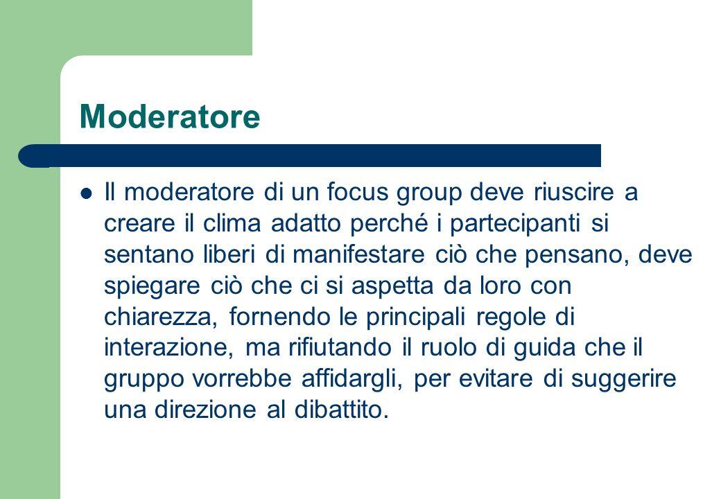 Moderatore In alcune situazioni il moderatore può essere un membro dellistituzione, ente, azienda o associazione che ha promosso lindagine.