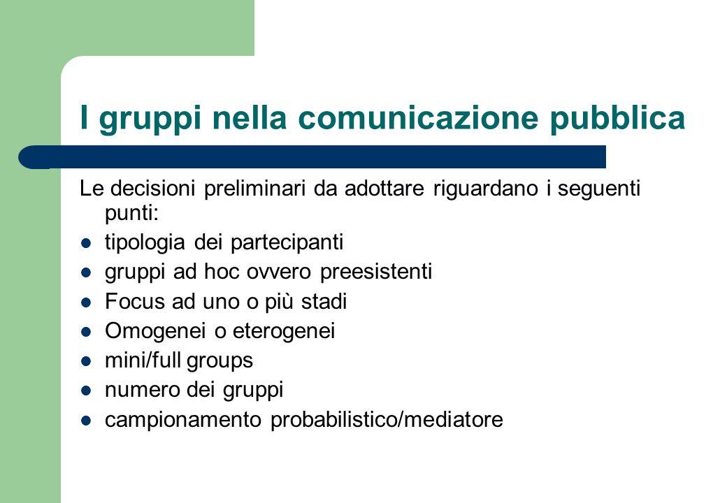 I gruppi nella comunicazione pubblica Per avere una maggiore ampiezza di punti di vista, sarebbe preferibile invitare persone che provengono da ambienti differenti.