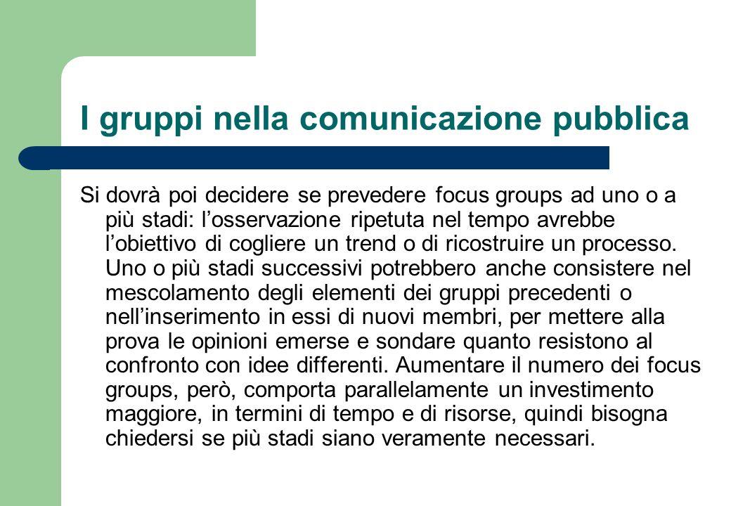 I gruppi nella comunicazione pubblica Il budget va considerato anche rispetto alla composizione interna dei gruppi.
