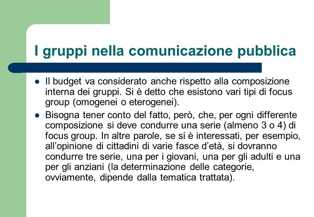 I gruppi nella comunicazione pubblica Se poi si volessero porre a confronto le diverse posizioni emerse allinterno di uno stesso gruppo, andrebbe condotta unaltra serie con gruppi eterogenei.