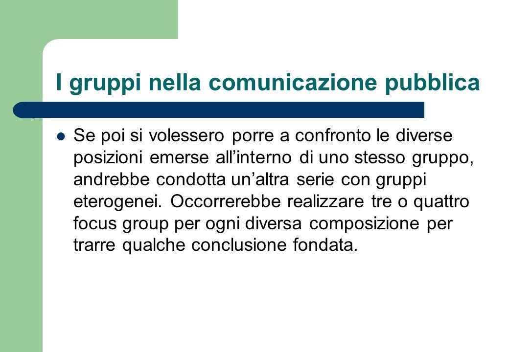 I gruppi nella comunicazione pubblica Il numero di focus group da condurre, quindi, dipende dalle scelte in merito alla loro composizione interna.