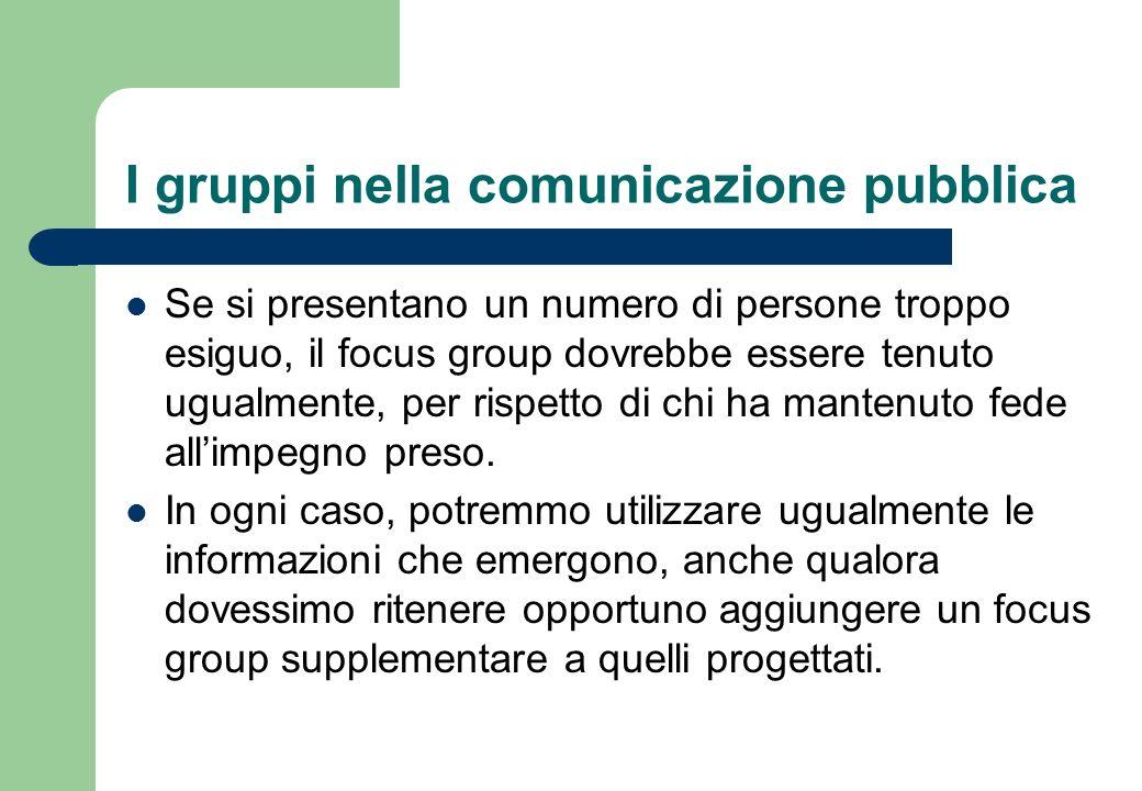 I gruppi nella comunicazione pubblica Sulla garanzia di partecipazione, incide sicuramente il tipo di campionamento adottato, probabilistico o non probabilistico.