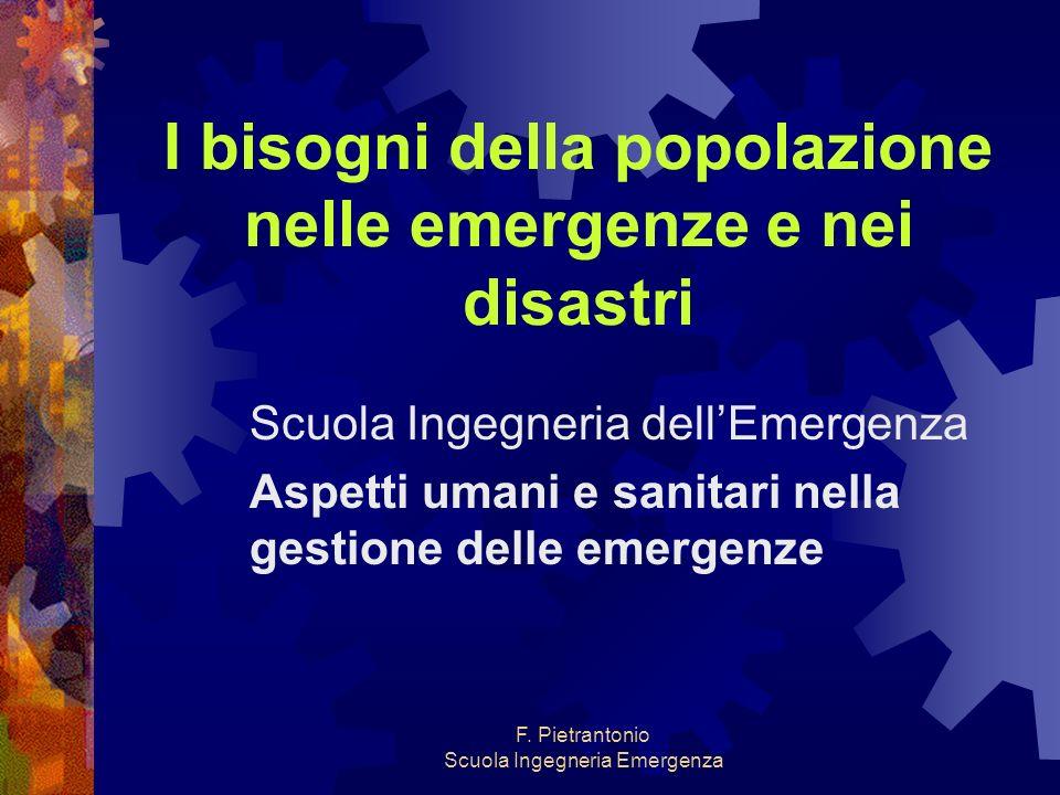 F. Pietrantonio Scuola Ingegneria Emergenza I bisogni della popolazione nelle emergenze e nei disastri Scuola Ingegneria dellEmergenza Aspetti umani e