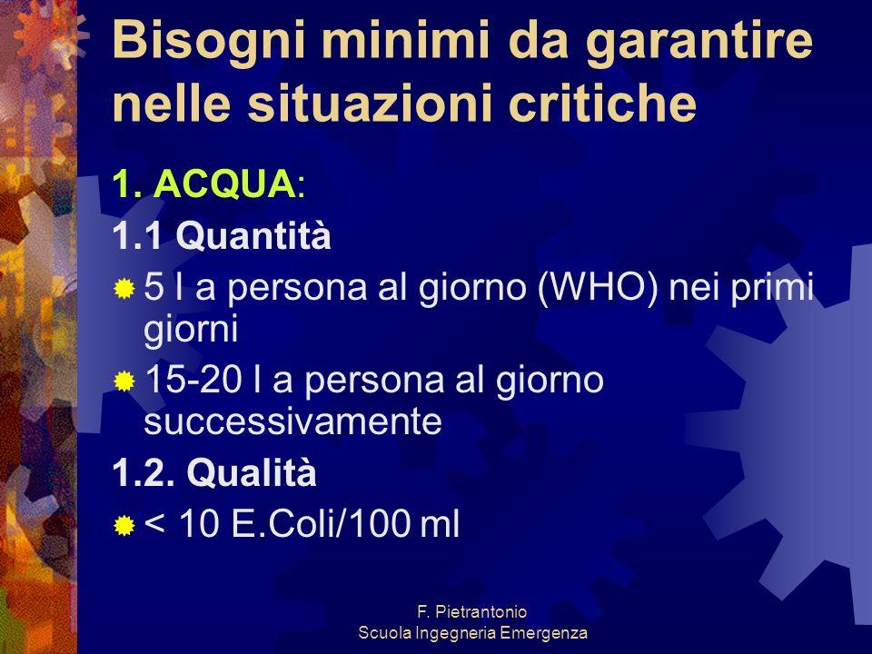 F. Pietrantonio Scuola Ingegneria Emergenza Bisogni minimi da garantire nelle situazioni critiche 1. ACQUA: 1.1 Quantità 5 l a persona al giorno (WHO)