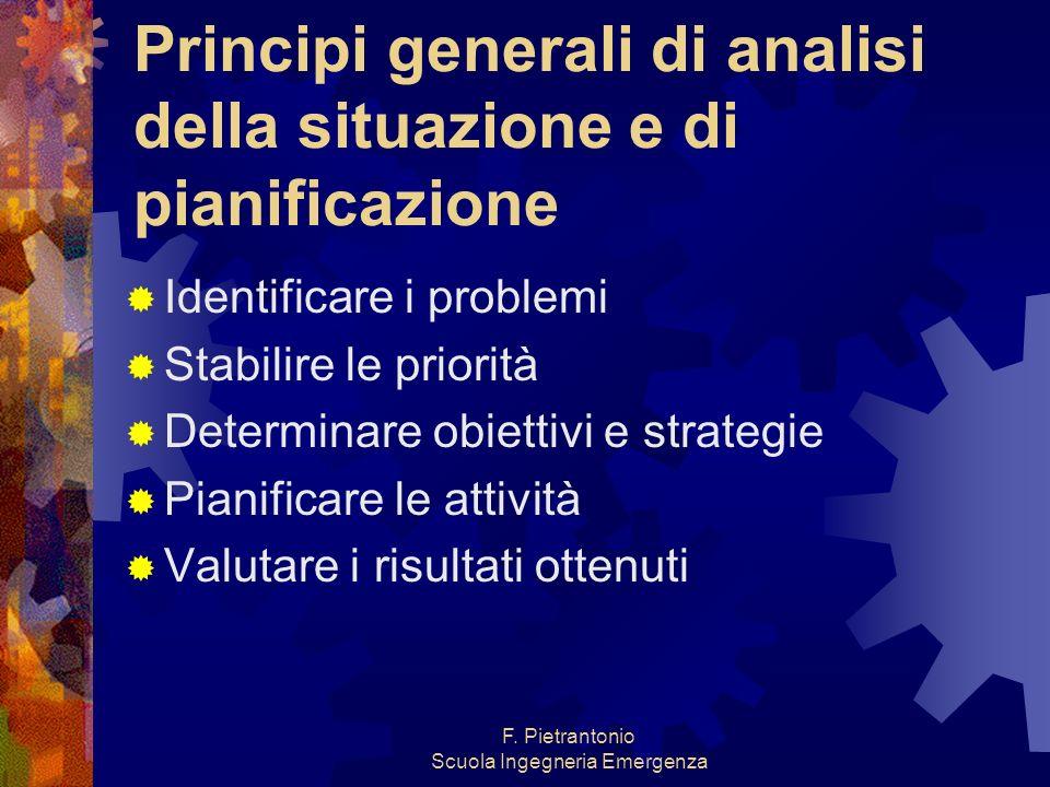 F. Pietrantonio Scuola Ingegneria Emergenza Principi generali di analisi della situazione e di pianificazione Identificare i problemi Stabilire le pri