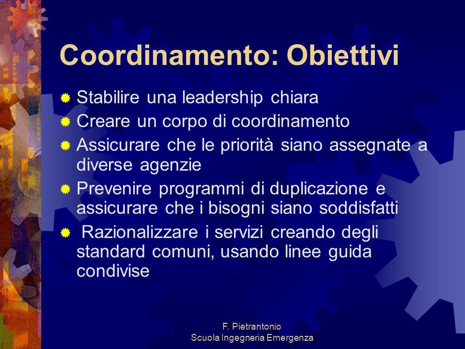 F. Pietrantonio Scuola Ingegneria Emergenza Coordinamento: Obiettivi Stabilire una leadership chiara Creare un corpo di coordinamento Assicurare che l
