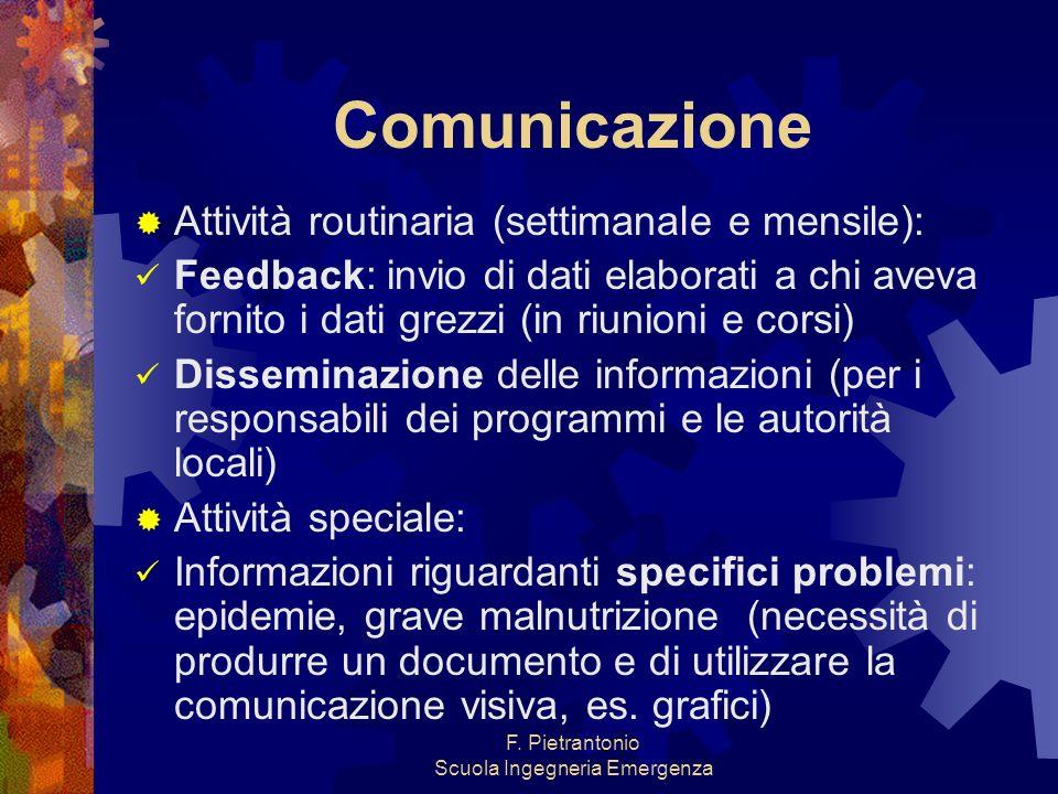F. Pietrantonio Scuola Ingegneria Emergenza Comunicazione Attività routinaria (settimanale e mensile): Feedback: invio di dati elaborati a chi aveva f
