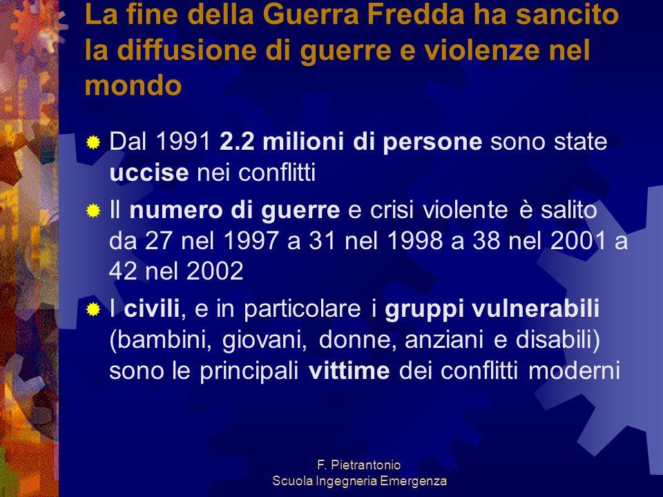 F. Pietrantonio Scuola Ingegneria Emergenza La fine della Guerra Fredda ha sancito la diffusione di guerre e violenze nel mondo Dal 1991 2.2 milioni d