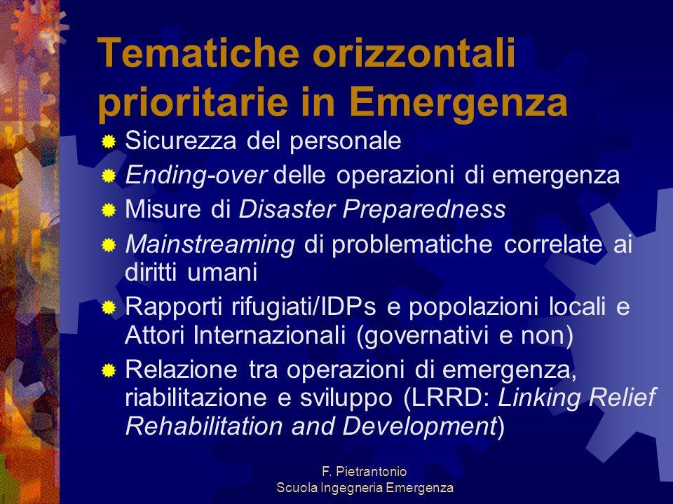F. Pietrantonio Scuola Ingegneria Emergenza Tematiche orizzontali prioritarie in Emergenza Sicurezza del personale Ending-over delle operazioni di eme