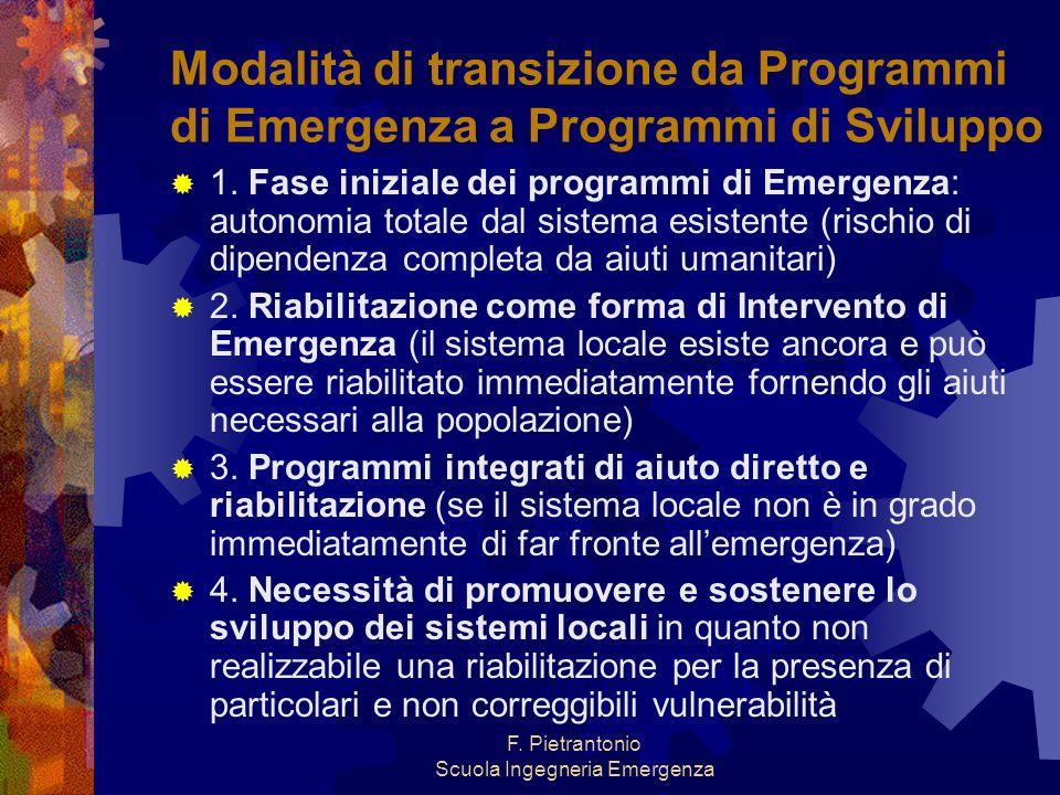 F. Pietrantonio Scuola Ingegneria Emergenza Modalità di transizione da Programmi di Emergenza a Programmi di Sviluppo 1. Fase iniziale dei programmi d