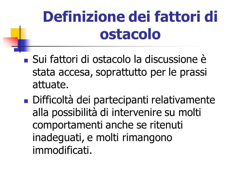 Definizione dei fattori di ostacolo Sui fattori di ostacolo la discussione è stata accesa, soprattutto per le prassi attuate. Difficoltà dei partecipa
