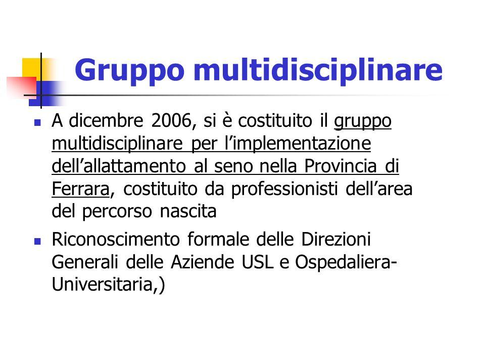 Gruppo multidisciplinare A dicembre 2006, si è costituito il gruppo multidisciplinare per limplementazione dellallattamento al seno nella Provincia di