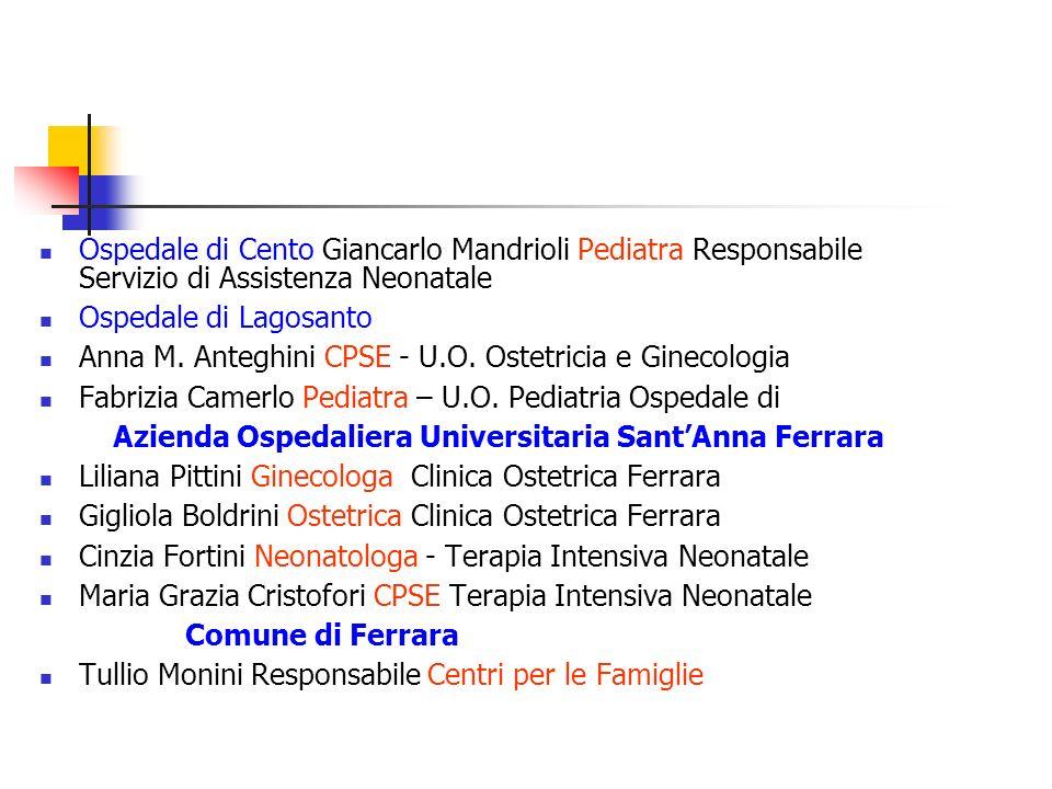 Ospedale di Cento Giancarlo Mandrioli Pediatra Responsabile Servizio di Assistenza Neonatale Ospedale di Lagosanto Anna M. Anteghini CPSE - U.O. Ostet