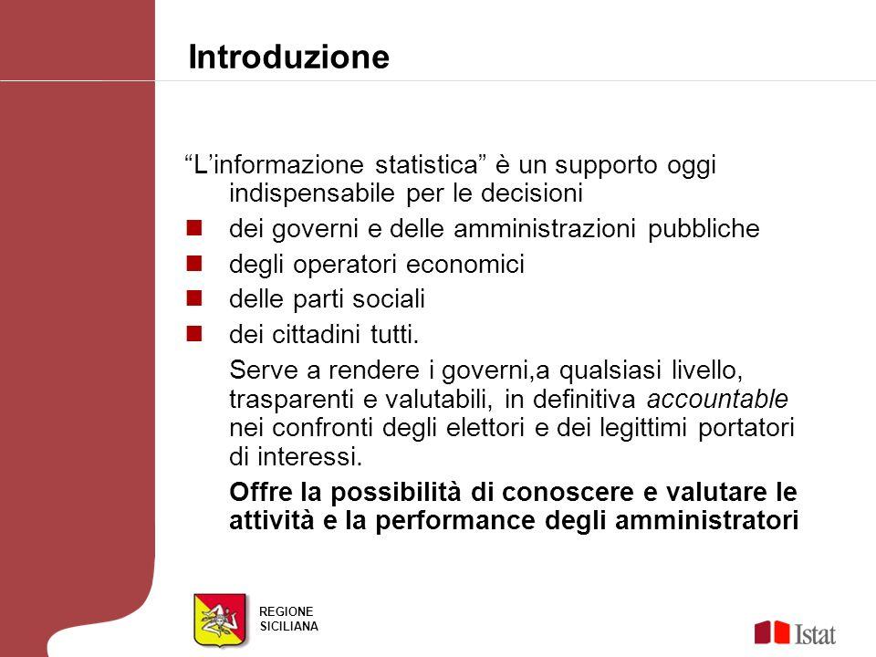 REGIONE SICILIANA Linformazione statistica è un supporto oggi indispensabile per le decisioni dei governi e delle amministrazioni pubbliche degli operatori economici delle parti sociali dei cittadini tutti.